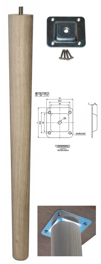 450mm Oak Tapered Leg w/ Level Fixing Plate