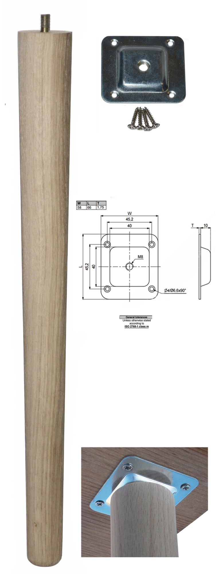 450mm Oak Tapered Leg w/ Level Fixing Plate