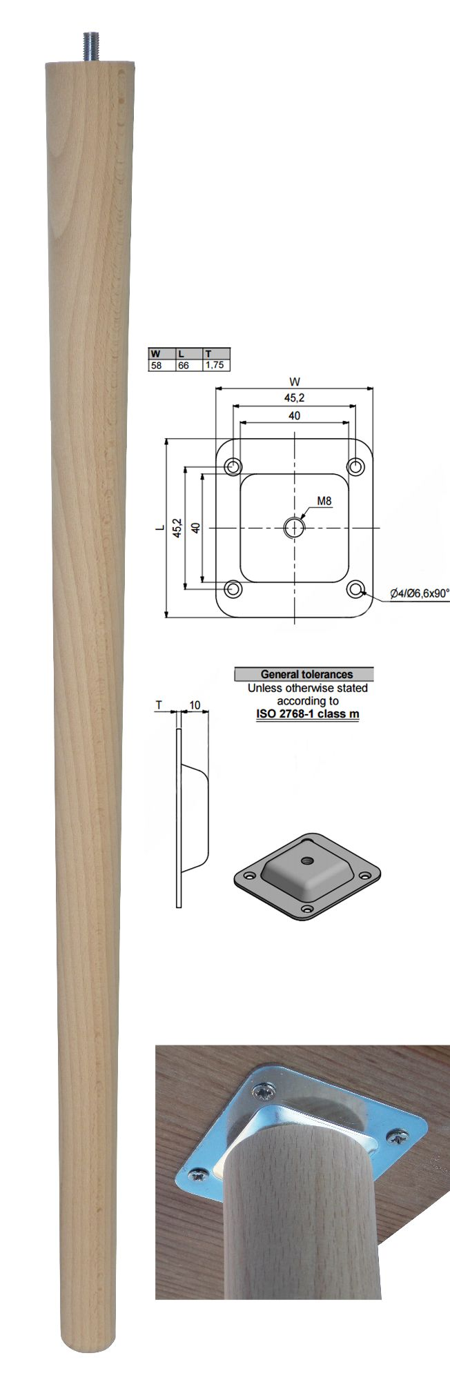 690mm Beech Tapered Leg w/ Level Fixing Plate