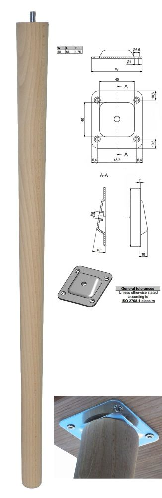 690mm Beech Tapered Leg w/ Angled Fixing Plate