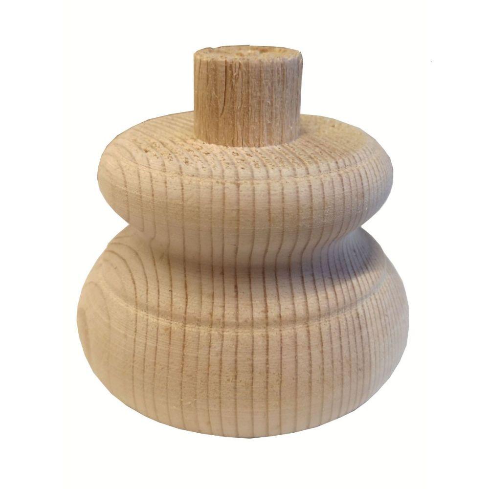Pine Moulded Bun Foot w/ Spigot - 83*56mm