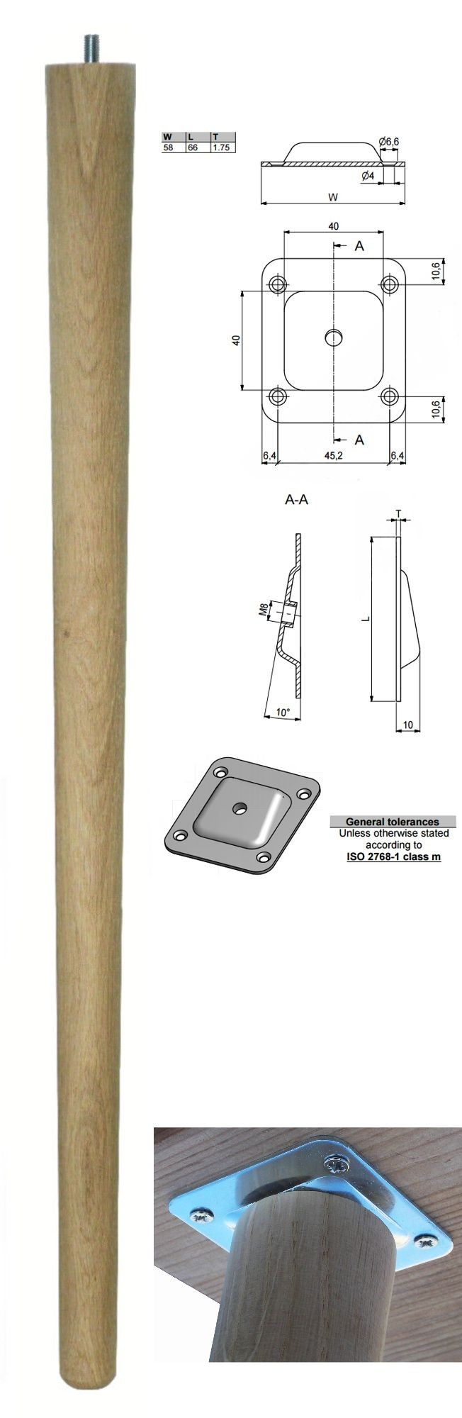 690mm Oak Tapered Leg w/ Angled Plate
