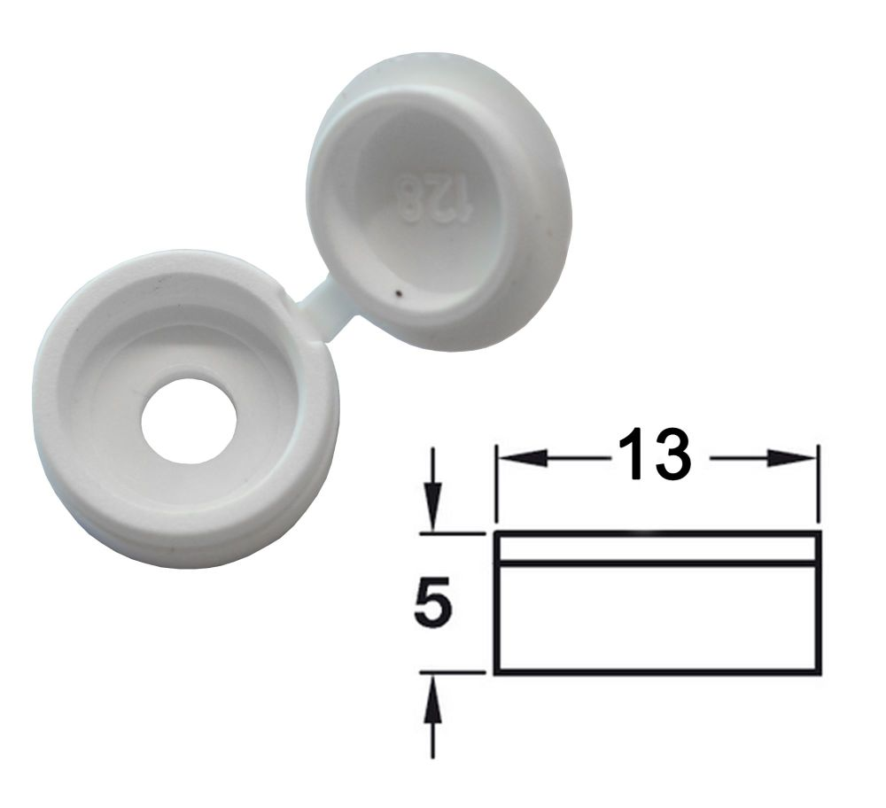 Hinged Screw Cover (White) - Pack of 50