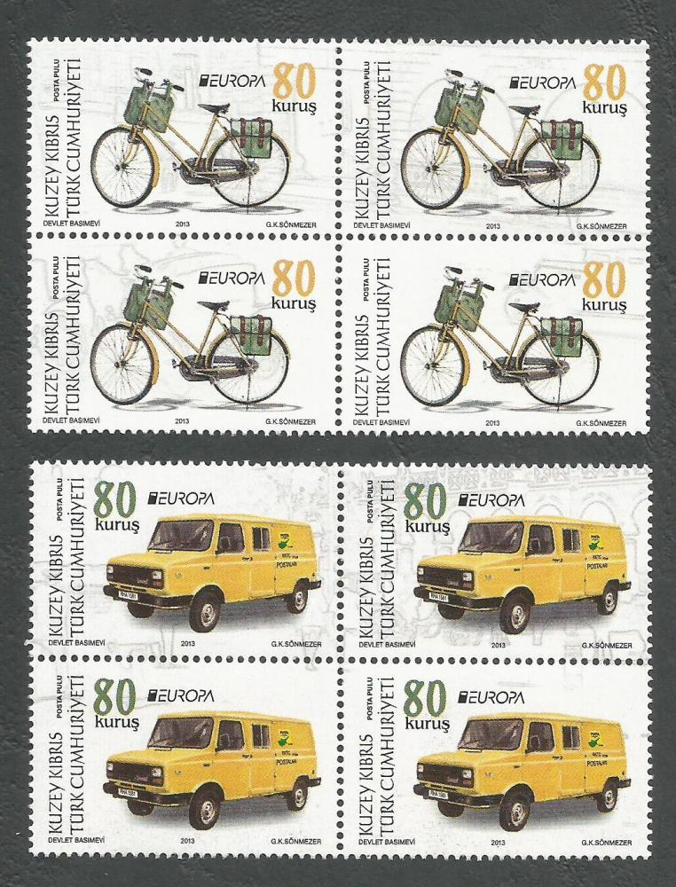 North Cyprus Stamps SG 2013 (c) Europa Postal Vehicles - Blocks of 4 MINT