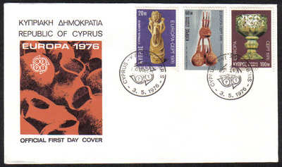 Cyprus Stamps SG 452-54 1976 Europa Ceramics - Official FDC