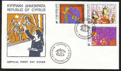 Cyprus Stamps SG 497-99 1977 Christmas - Official FDC