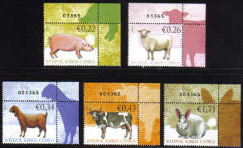 Cyprus Stamps SG 1212-16 2010 Domestic Animals Control numbers - MINT