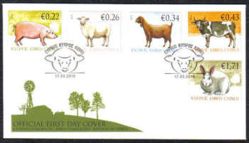 Cyprus Stamps SG 1212-16 2010 Domestic Animals - Official FDC