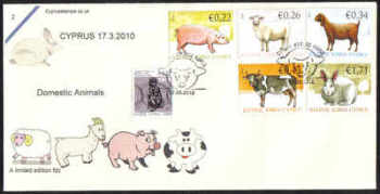 Cyprus Stamps SG 1212-16 2010 Domestic Animals  - Cachet Unofficial FDC (c430)