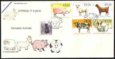 Cyprus Stamps SG 1212-16 2010 Domestic Animals  - Cachet Unofficial FDC (c4