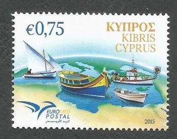 Cyprus Stamps SG 1373 2015 Euromed, Boats of the Mediterranean - MINT