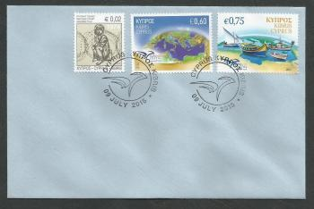 Cyprus Stamps SG 1373 2015 and SG 1326 2014 Euromed on same cover - Unofficial FDC (k160)