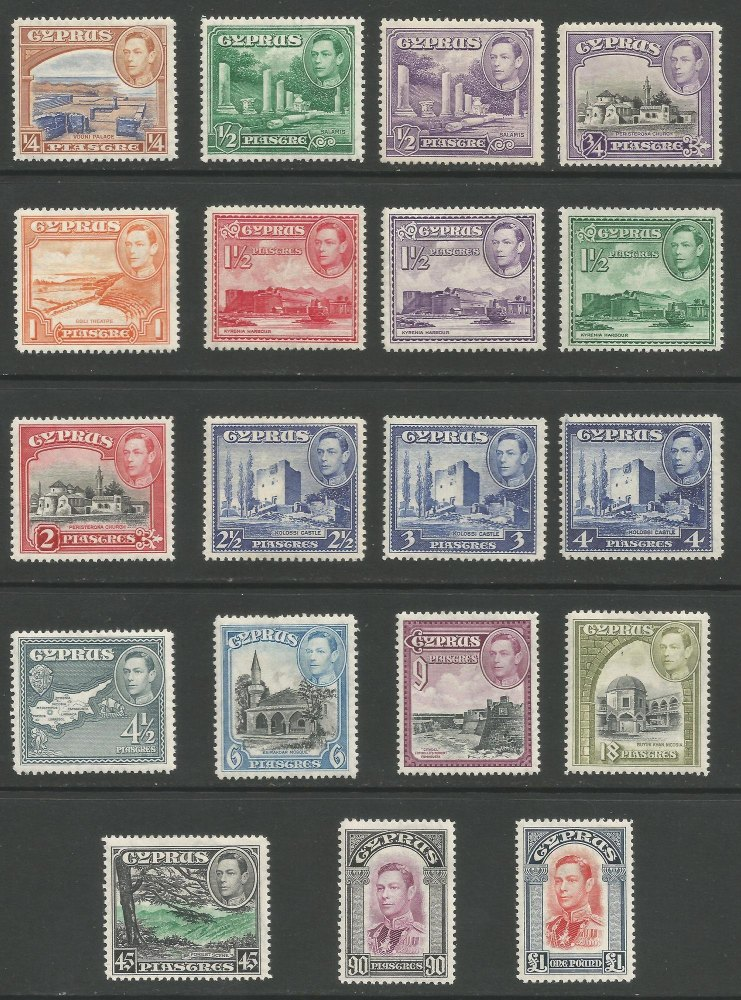 Cyprus Stamps SG 151-63 1938-51 King George VI Definitives - MH (k185)