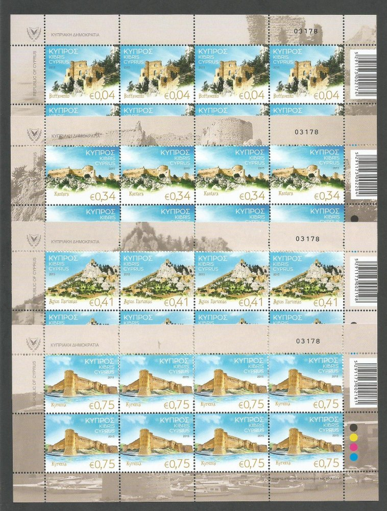 Cyprus Stamps SG 2015 (J) Castles of Cyprus - Full sheets MINT