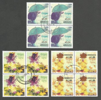 "Cyprus Stamps SG 1327-29 2014 Overprints of ""The four seasons"" stamps - Block of 4 USED (k205)"