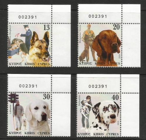 Cyprus Stamps SG 1098-1101 2005 Dogs in a mans life - Control Numbers MINT