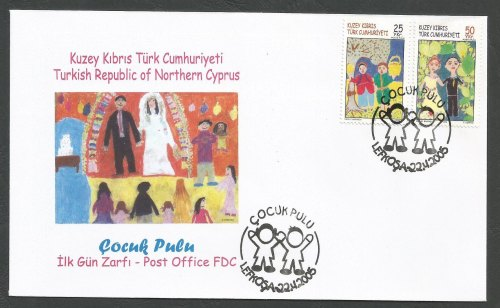 North Cyprus Stamps SG 605-06 2005 Childrens paintings - Official FDC