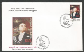 North Cyprus Stamps SG 635 2006 Birth anniversary of Mustafa Kemal Ataturk  - Official FDC