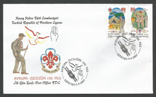 North Cyprus Stamps SG 651-52 2007 Centenary of Scouting - Official FDC