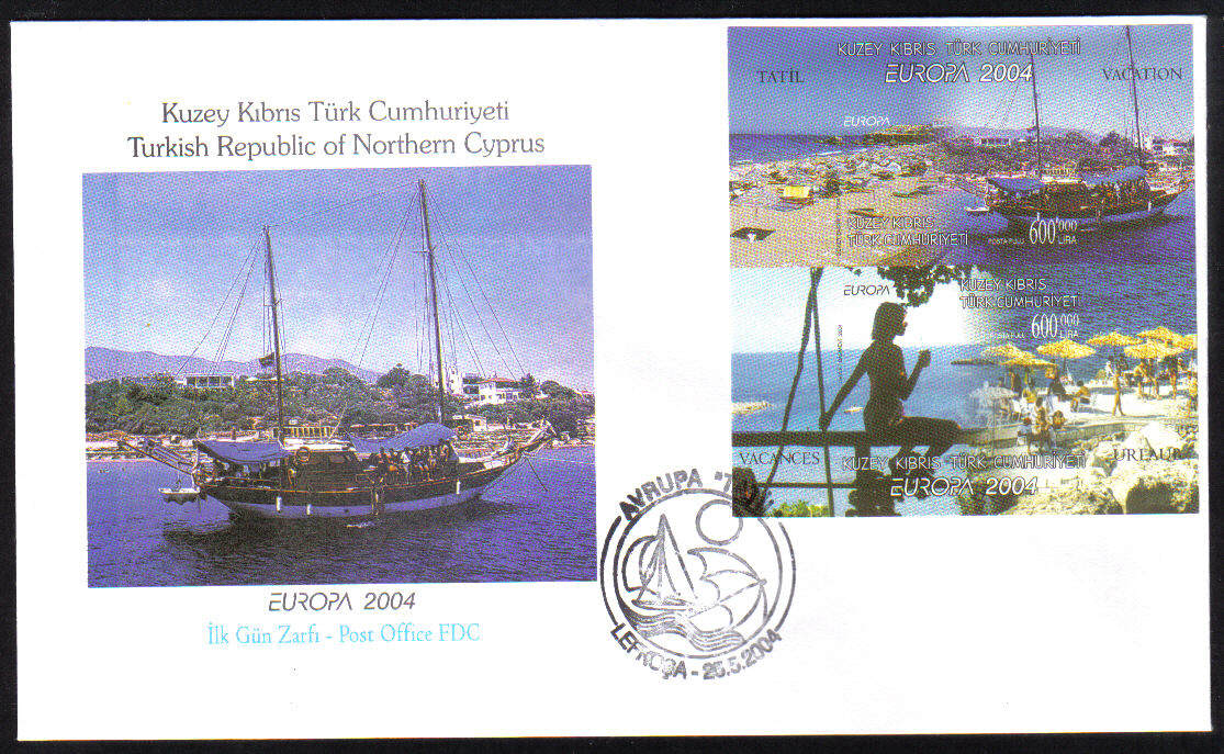 North Cyprus Stamps SG 588 MS 2004 Europa Holidays (Imperferated) - Official FDC