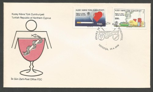 North Cyprus Stamps SG 273-74 1990 World Health day - Official FDC (b142)