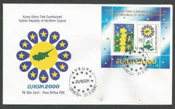 North Cyprus Stamps SG 509 MS 2000 Europa - Official FDC (k223)