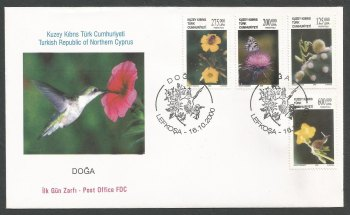 North Cyprus Stamps SG 516-19 2000 Nature Insects and Flowers - Official FDC