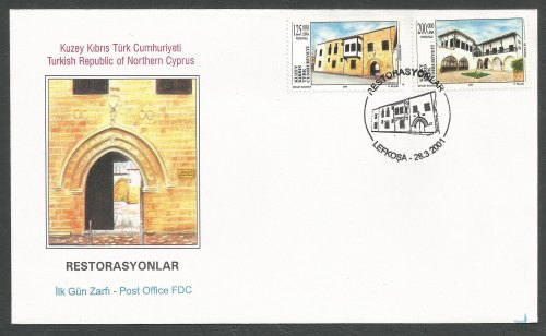 North Cyprus Stamps SG 524-25 2001 Historic Buildings - Official FDC