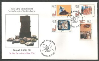 North Cyprus Stamps SG 526-29 2001 Modern Art - Official FDC