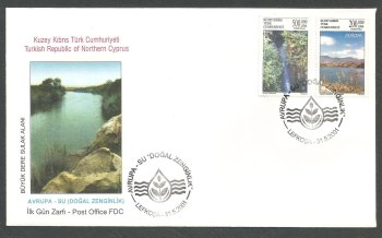 North Cyprus Stamps SG 530-31 2001 Europa Water Resources - Official FDC