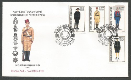 North Cyprus Stamps SG 534-37 2001 Turkish Cypriot Police uniforms - Offici