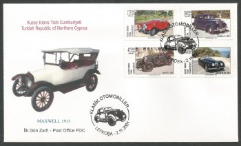 North Cyprus Stamps SG 538-41 2001 Classic Cars - Official FDC