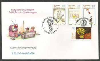 North Cyprus Stamps SG 544-47 2002 Caricatures - Official FDC