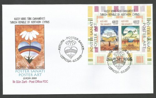 North Cyprus Stamps SG 569 MS Europa Poster Art - Official FDC