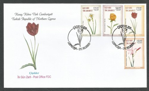 North Cyprus Stamps SG 578-81 2003 Flowers - Official FDC