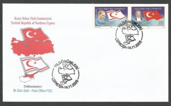 North Cyprus Stamps SG 582-83 2003 Political Anniversaries - Official FDC