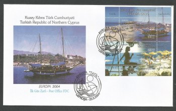 North Cyprus Stamps SG 588 MS 2004 Europa Holidays (Perforated) - Official FDC