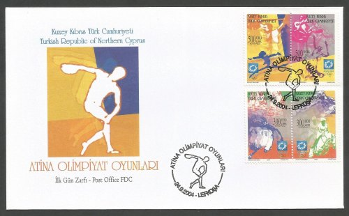 North Cyprus Stamps SG 596-99 2004 Athens Olympic games - Official FDC