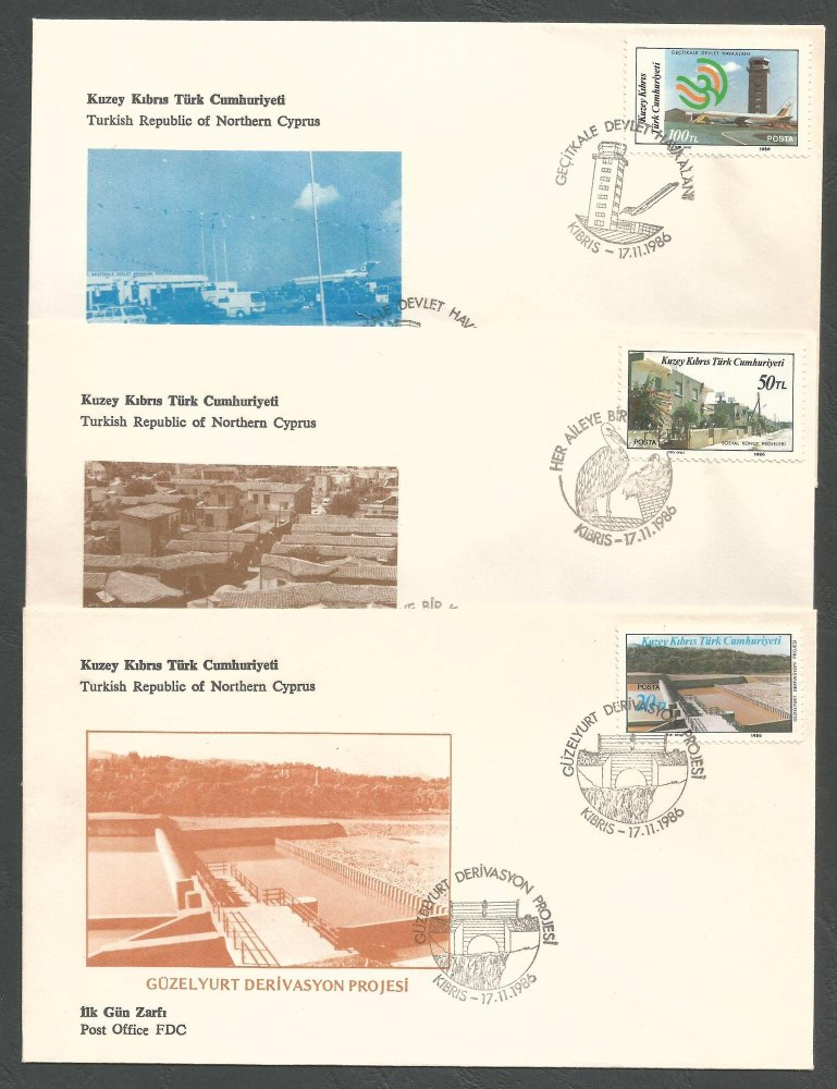 North Cyprus Stamps SG 197-99 1986 Modern Development - Official FDC