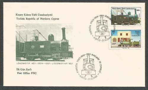 North Cyprus Stamps SG 202-03 1986 The Cyprus Railway - Official FDC