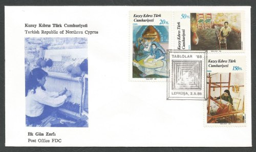 North Cyprus Stamps SG 225-27 1988 Art 7th Series - Official FDC
