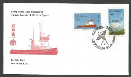 North Cyprus Stamps SG 228-29 1988 Europa Transport - Official FDC