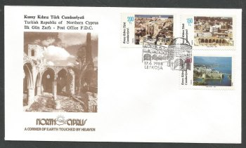North Cyprus Stamps SG 230-32 1988 Tourism - Official FDC