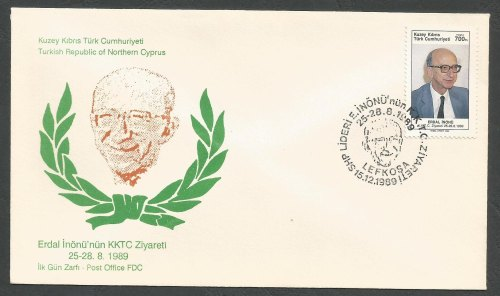 North Cyprus Stamps SG 269 1989 Erdal Inonu - Official FDC