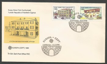 North Cyprus Stamps SG 275-76 1990 Europa Post Office Buildings - Official FDC