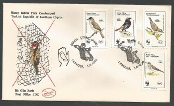 North Cyprus Stamps SG 278-81 1990 World Environment Day Birds - Official FDC