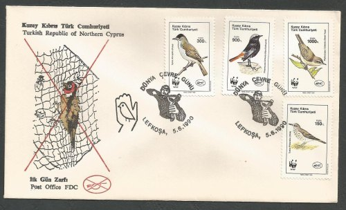 North Cyprus Stamps SG 278-81 1990 World Environment Day Birds - Official F