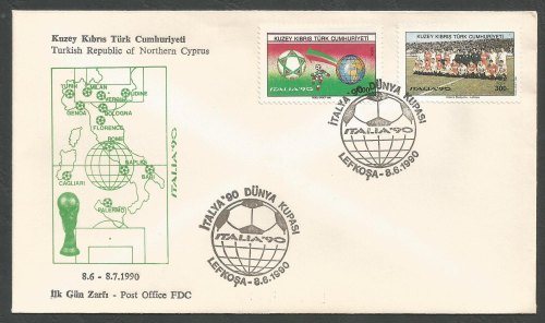 North Cyprus Stamps SG 282-83 1990 Italy World Cup Football - Official FDC