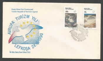 North Cyprus Stamps SG 286-87 1990 Tourism - Official FDC