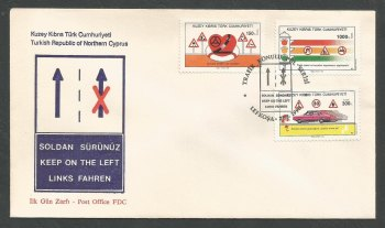 North Cyprus Stamps SG 289-91 1990 Traffic Safety - Official FDC